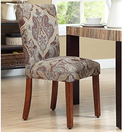 Chairs Set of 2 Modern Contemporary Upholstered Wood Walnut Finish