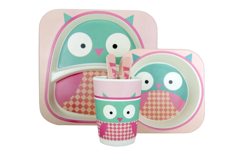 Jocca enfants Ensemble de vaisselle en Motif chouette, Bambou, Rose/vert/blanc, 25.5x 23.5x 9.5cm Qualimax International 1740B