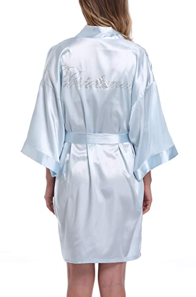 Women s Bride Bridesmaid Robes Short Kimono Robe Dressing Gown for Wedding cb57c4dca