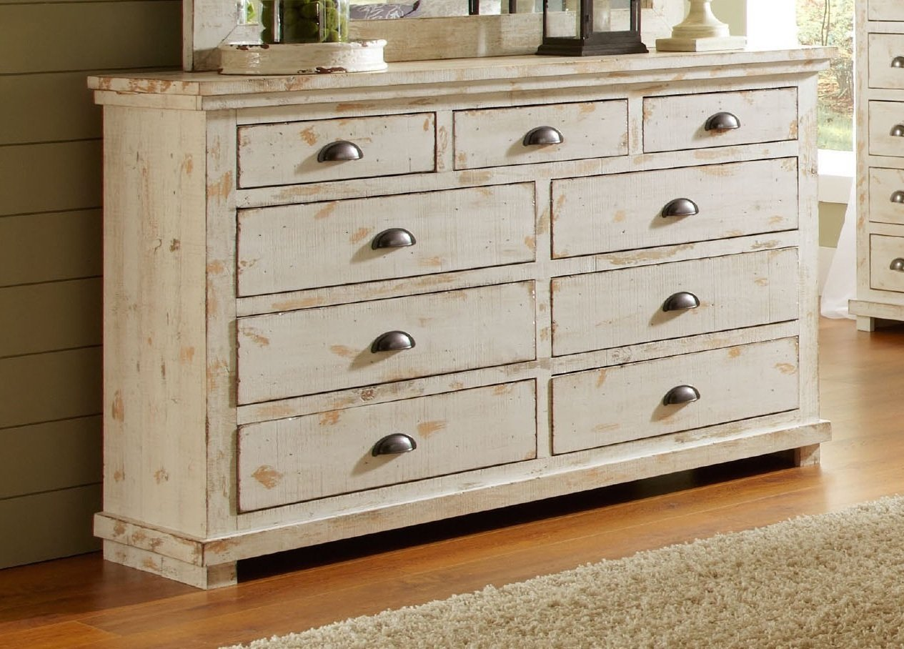 progressive furniture willow distressed drawer dresser