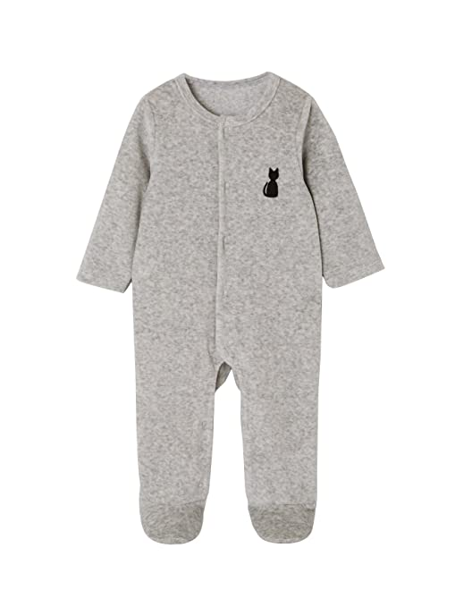 b51122c449aad VERTBAUDET Pyjama bébé velours bio dos fantaisie Gris chiné 1M - 54CM