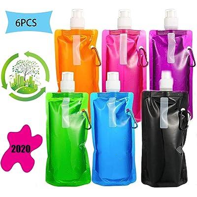 6Piezas Botella de Agua Plegable,Botella de Agua Plegable de Silicona Portátil,Botella de Agua Plegable Ligera Reutilizable Deporte Botella de Agua Potablepara Senderismo, Ciclismo, Camping