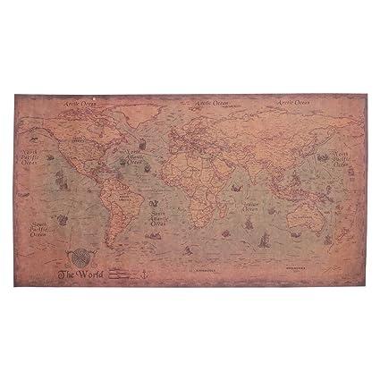 Poster parete muro MAPPA NAUTICA VINTAGE cartina mondo continenti 40 30 cm