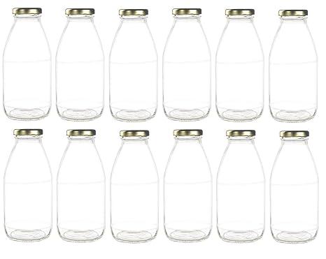 841702bc1d07 Amazon.com: Nakpunar 12 pcs 10 oz Glass Bottle with Gold Lid for ...
