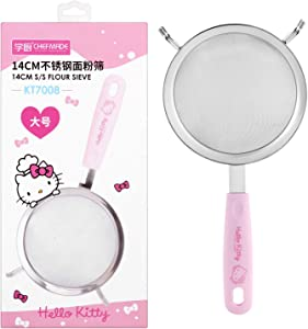 CHEFMADE Hello Kitty Fine Mesh Strainers, 5.5-Inch Stainless Steel Strainer Wire Sieve with Insulated Handle for Kitchen, Cooking, Food Preparation (Pink)