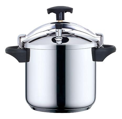 Kitchen Move CSB24-8L - Olla a presión (acero inoxidable), color negro metalizado, acero inoxidable, plateado/negro, 8 L, diámetro 24 cm