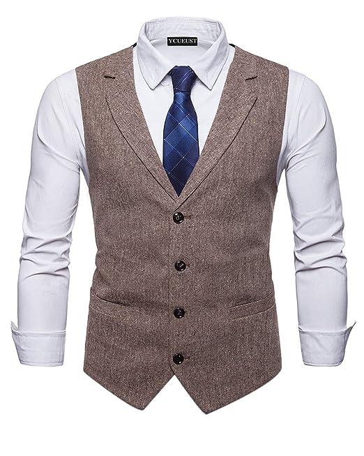 YCUEUST Elegante Chaleco Hombre Casual Negocio Ceremonia Boda Slim Fit Traje Blazers
