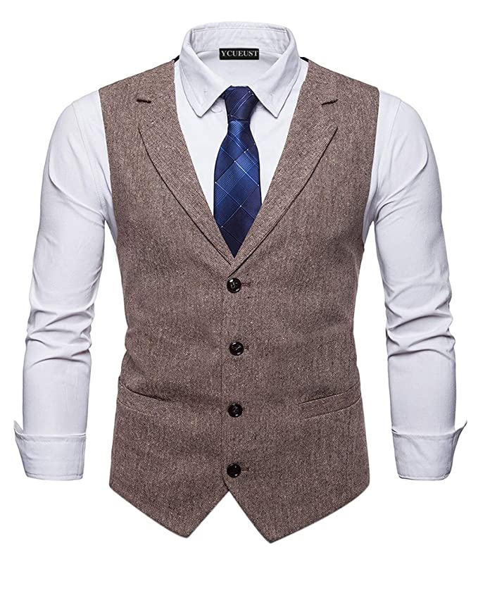 1920s Style Mens Vests YCUEUST Mens Classic Herringbone Tweed Vintage Casual Business Suit Jacket Waistcoats £25.99 AT vintagedancer.com