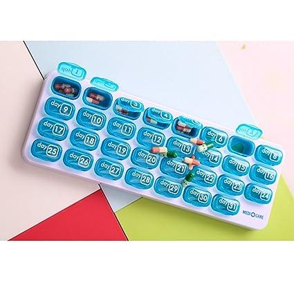 OUNONA Pastillero Mensual 31 Días 1 Toma Plástico para Viajes Uso Diario (Azul): Amazon.es: Hogar