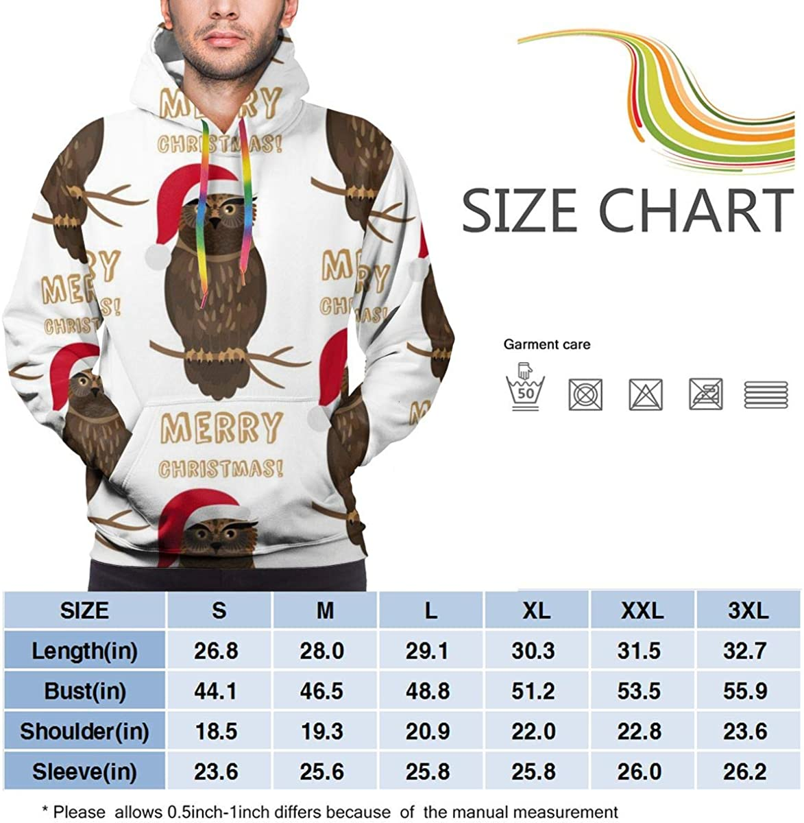 Funny Cool Outwear Christmas Owl with Santa Hat Pullover Hooded Sweatshirts for Boys Mens