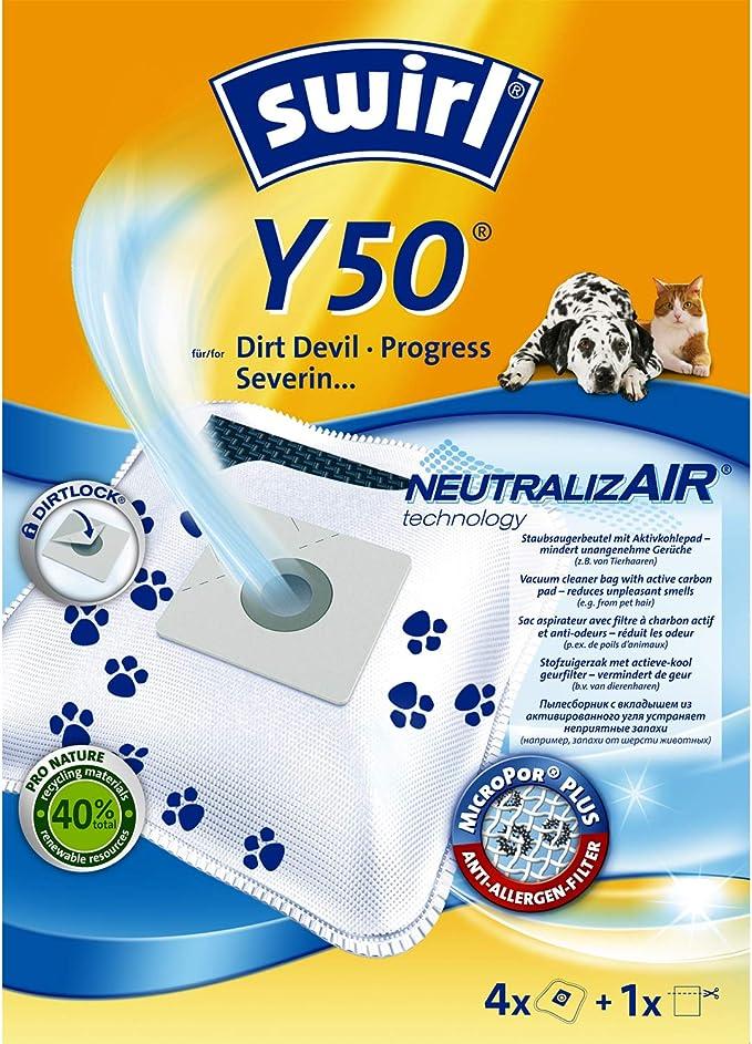 Swirl Y50 Neutral izair bolsas para aspiradora Dirt Devil Aspiradora, 4 bolsas + 1 filtro: Amazon.es: Hogar