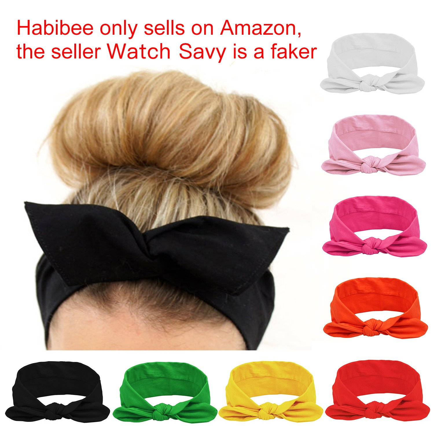 Habibee Women Headbands Turban Headwraps Hair Band Bows Accessories for Fashion Or Sport (Solid Color 8pcs) by habibee