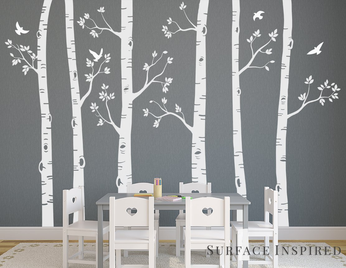 Large Birch Tree Wall Decals From Surface Inspired 6 Trees Included 1021