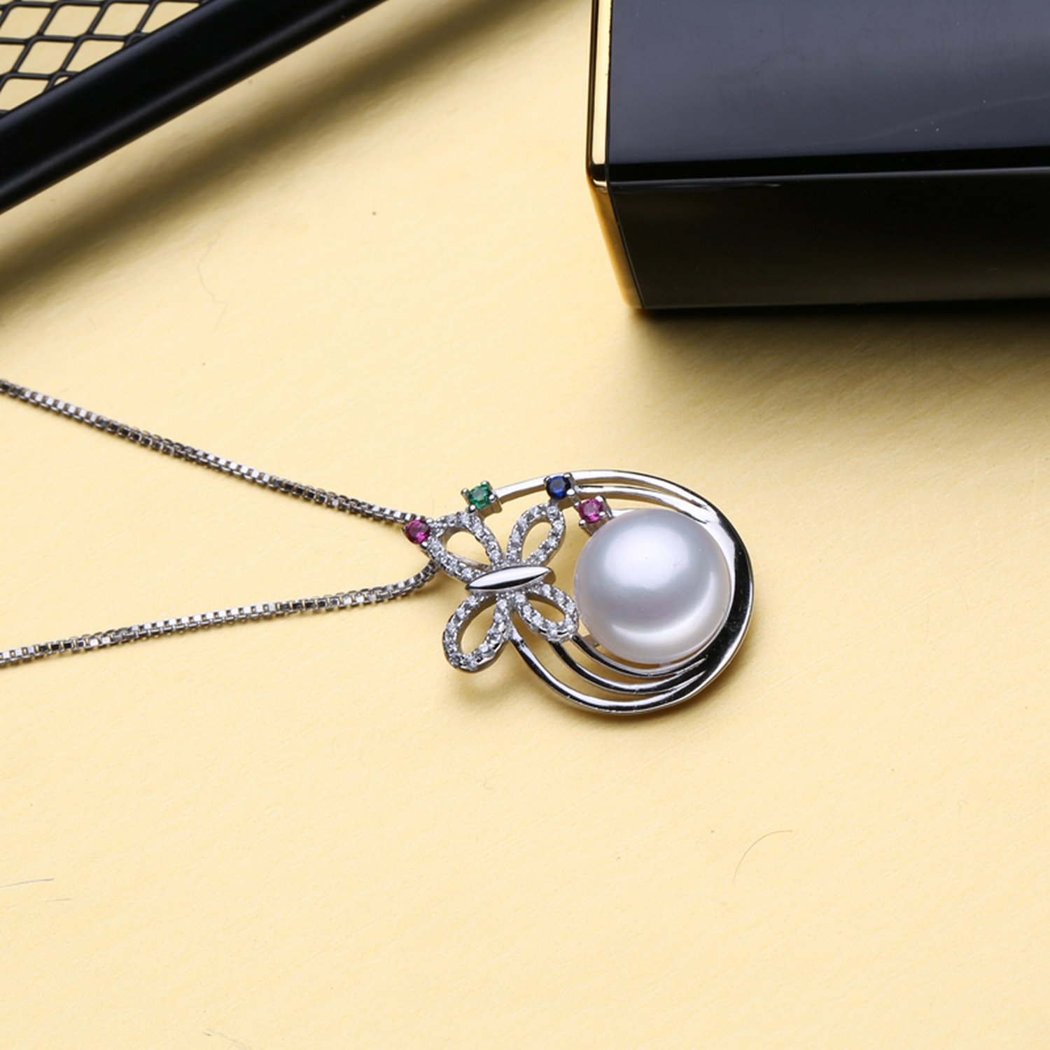 MMC Butterfly Pearl Statement Silver Pendants Necklaces