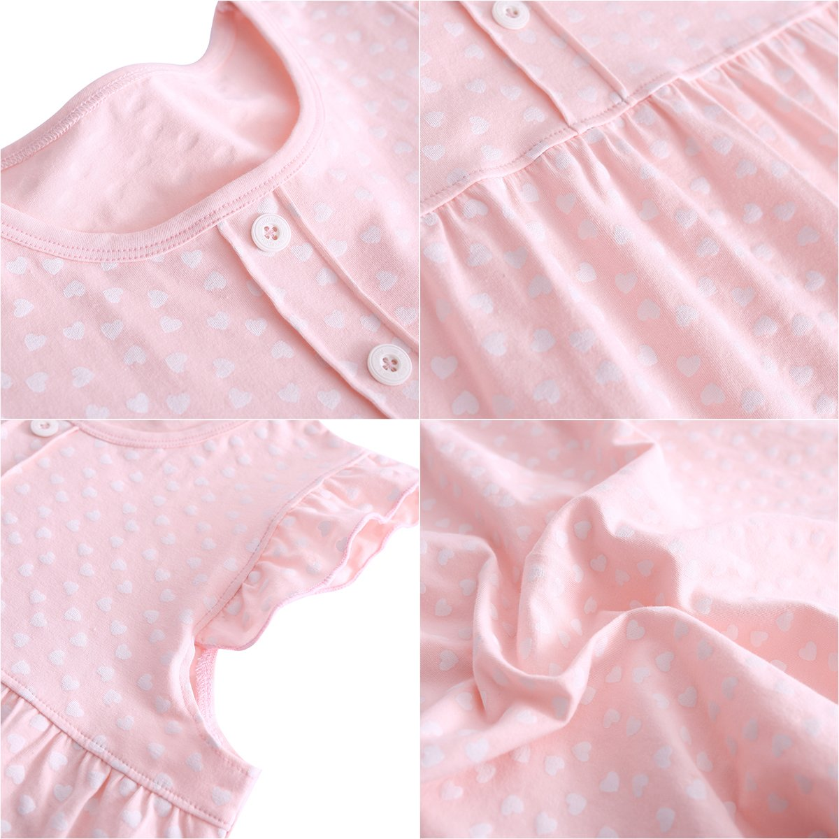 DGAGA Little Girls Princess Nightgown Cotton Lace Bowknot Sleepwear Nightdress (7-8 Years/140cm, Pink) by DGAGA (Image #3)