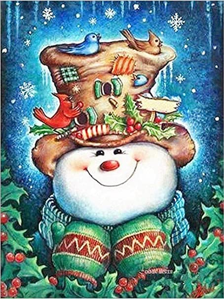 5D FULL DRILL LET IT SNOW  MAN DIAMOND PAINTING DOTS 30 CM X 40 CM