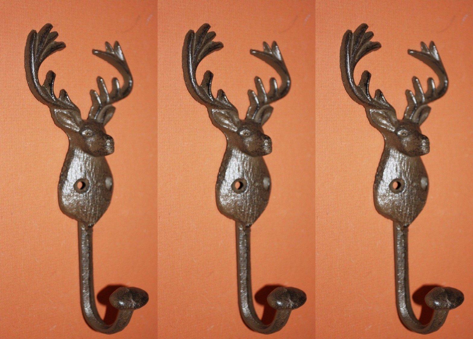 Deer Hunter Theme Bath Decor, Deer Head Bath Towel Hooks Set of 3