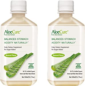 AloeCure Pure Aloe Vera Juice Natural Flavor Acid Buffer, Certified Organic Aloe Processed Within 12 Hours of Harvest to Maximize Nutrients, No Charcoal Filtering-Inner Leaf, 2x500ml Bottles