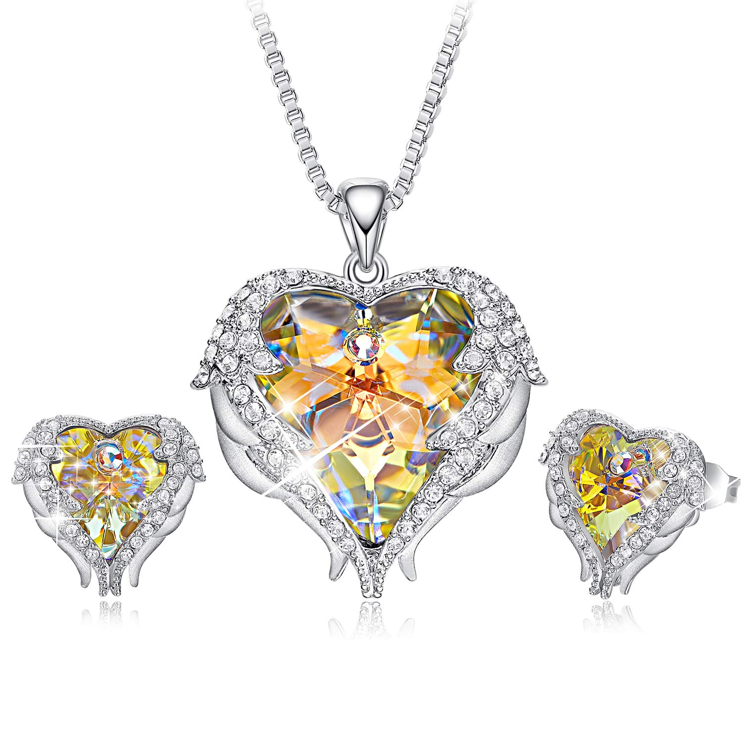 CDE Jewelry Set for Women 18K White Gold Plated Angel Wing Swarovski Crystal Pendant Necklace Heart of Ocean Stud Earrings for Girls Mom Crystals from Swarovski CDEP0902SET