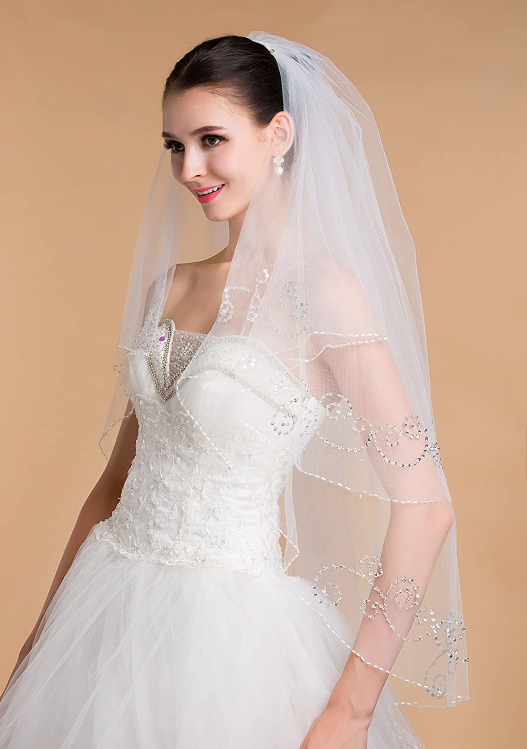 Liveinu Womens 2 Tier Wedding Bridal Veil with Sparkly Crystals Edge