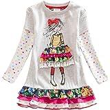 VIKITA Baby Girl Cartoon Flower Cotton Dress Long Sleeve Winter Dresses 2-8 Years Little Girls
