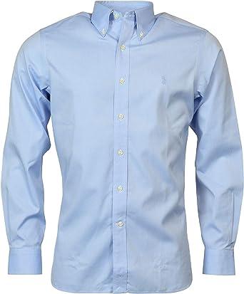 Polo Ralph Lauren - Camisa de manga larga para hombre sin necesidad de planchado, con botones - Azul - 43 cm Cuello 91 cm/ 94 cm Manga: Amazon.es: Ropa y accesorios