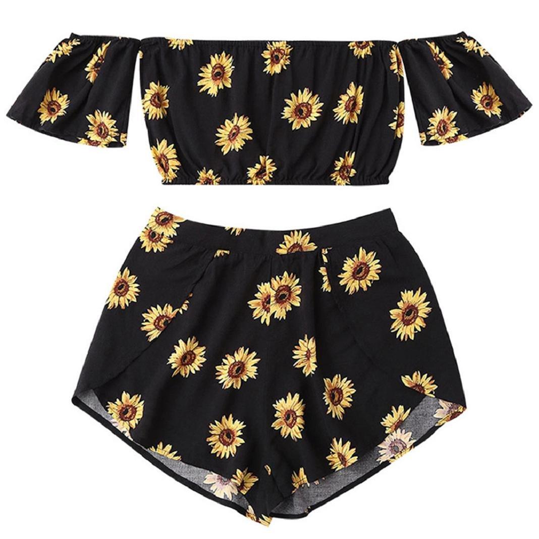 ShenPr Women's Cold Shoulder Chiffon Boho Sunflower Printed Flare Half Sleeve Mini Top Vest And Shorts Set (Black, XL)