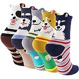 CaiDieNu 1/2/5/10 Pairs Womens Cotton Cute Cartoon Animals Character Socks UK 4-10