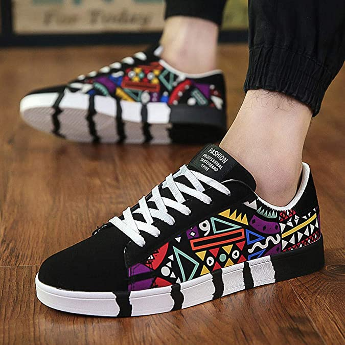 Amazon.com | NUWFOR Mens Fashion Casual Lace-Up Colorfor Canvas Sport Shoes Sneakers Graffiti Shoes | Shoes