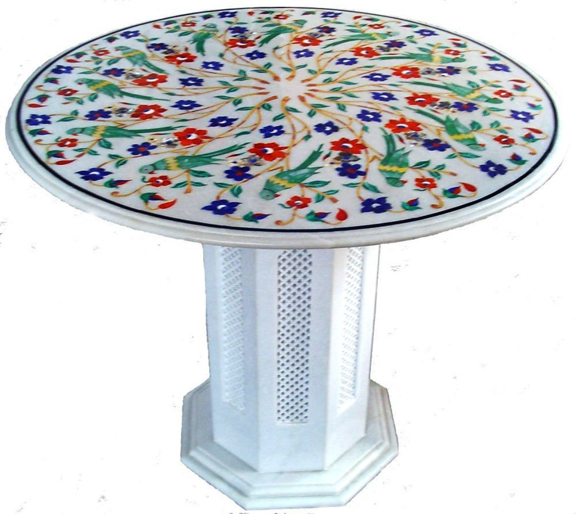 24'' Round Handcrafted Indian Marble Pietre Dure Pietra Dura Table Top WITH STAND