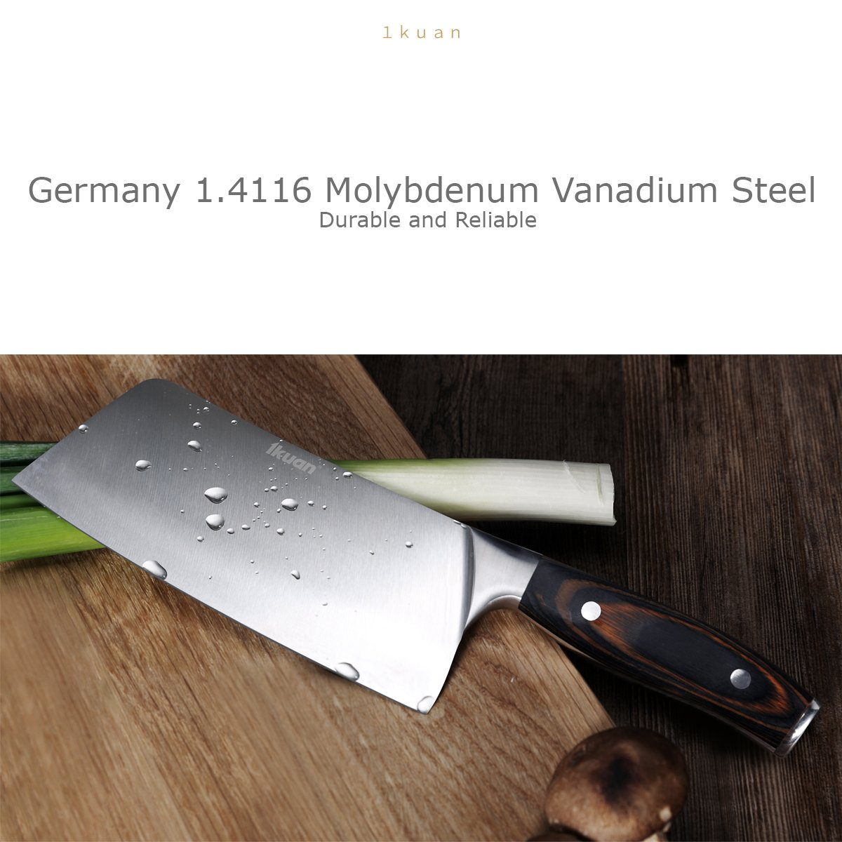 1Kuan – 7-Inch Stainless Steel Choppers – Cleaver – Butcher Knife with wooden handle Multipurpose for home kitchen or Restaurant