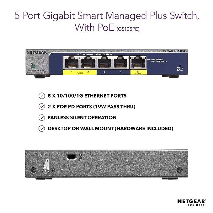 NETGEAR 5-Port Gigabit Ethernet Smart Managed Plus PoE Switch (GS105PE) -  with 2 x PoE PD Powered @ 19W Pass-thru, Desktop, and ProSAFE Lifetime