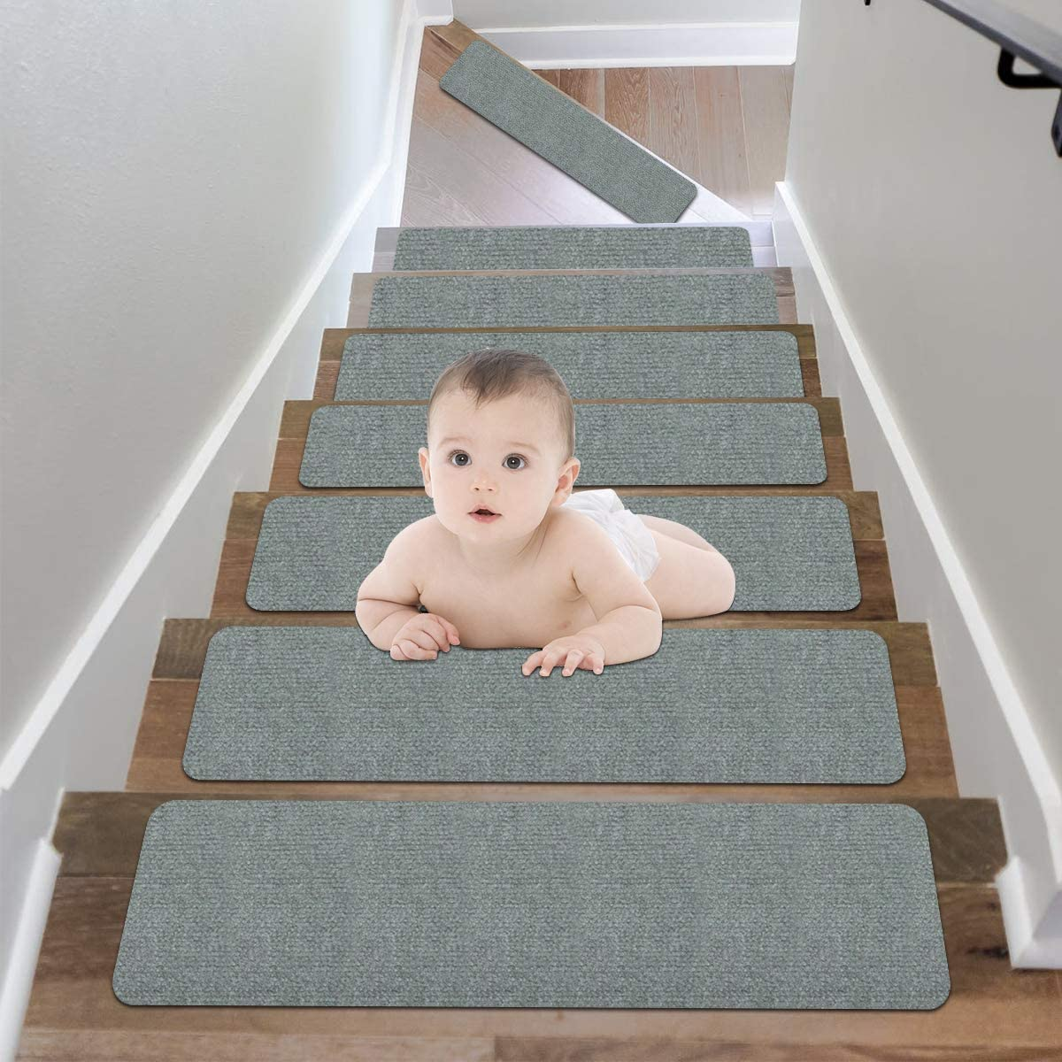 Butizone Non-Slip Carpet Stair Treads, Stair Rugs Runners Stair Covers Non-Skid Indoor with Reusable Adhesive, Safety for Kids, Elderly and Pets, 9'' x 26'', Light Grey, Set of 15