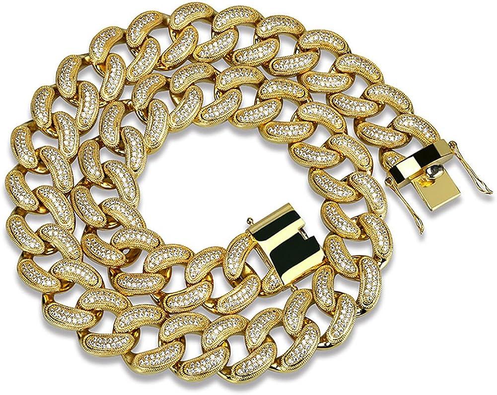 Moca Jewelry Hip Hop - Collar con Cadena de circonitas cúbicas para Hombre (Cadena de eslabones cubanos Grandes chapada en Oro de 18 Quilates, 28 mm de Ancho)