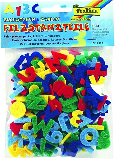 Felt Letters And Numbers 200 pcs In Different Colors Folia Bringmann