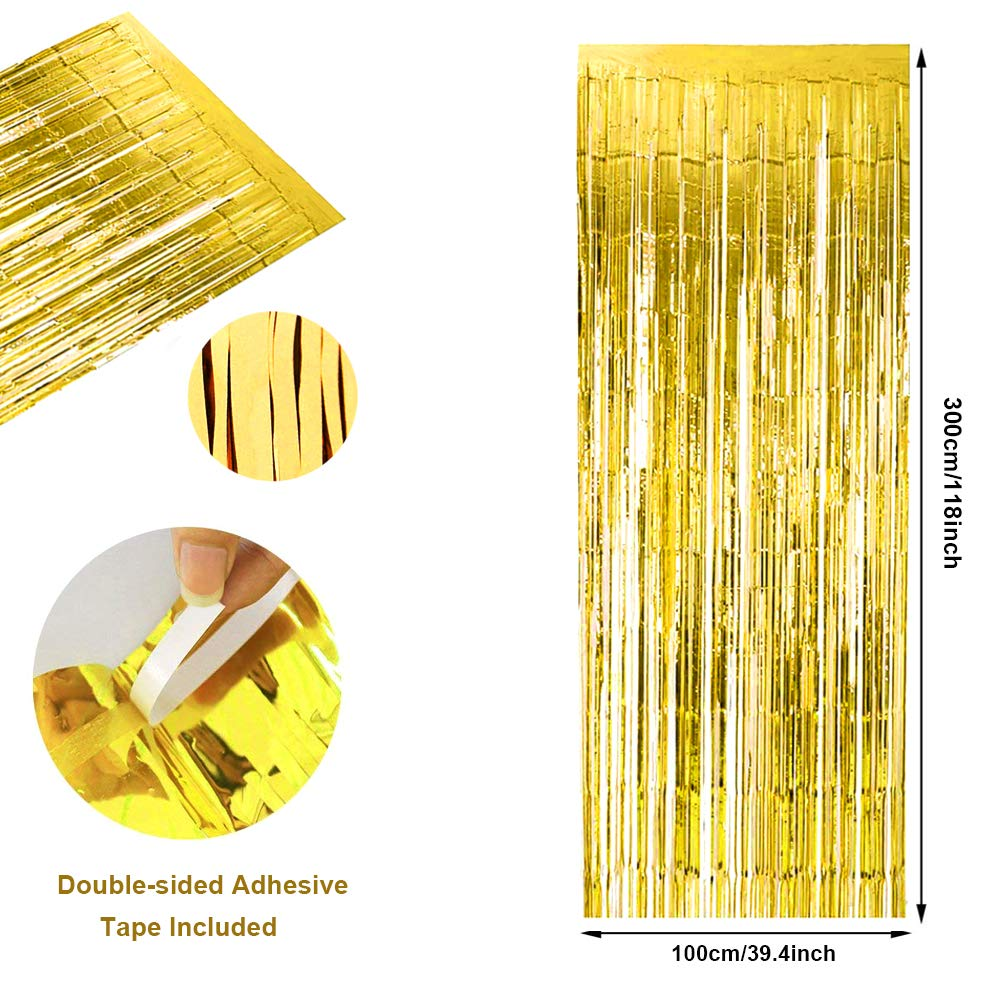 Konsait 3 Pack Big 3ft x 9ft Metallic Tinsel Curtains Gold Fringe Foil Curtain Party Backdrop Door Window Decoration for Birthday Wedding Christmas New Year Disco Bridal Shower Party Supplies