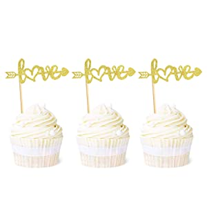 Ercadio 24 Pack Gold Love Cupcake Toppers with Arrow Glitter Wedding Engagement Cupcake Picks Bridal Shower Birthday Valentine's Day Party Cake Decorations