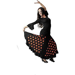 Anuka Falda para Flamenco o sevillanas con Godets a Topos ...
