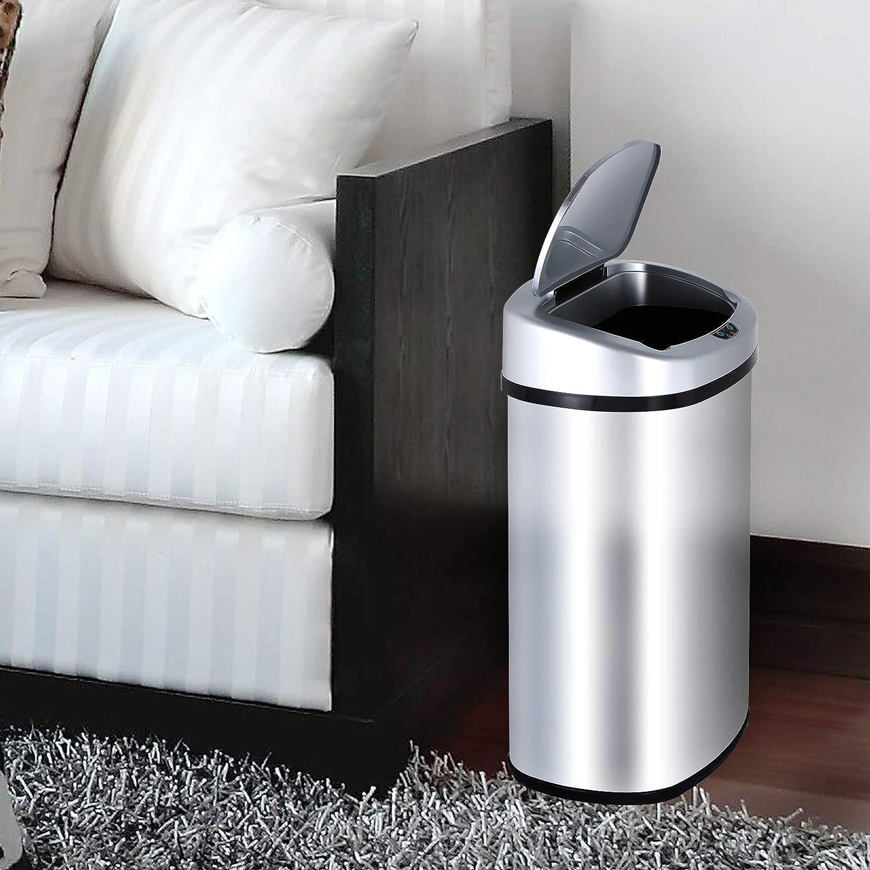 Acero Inoxidable Cocina Cuarto de ba/ño Desodorante Bote de Basura 30L Display4top Cubo de Basura Sensor