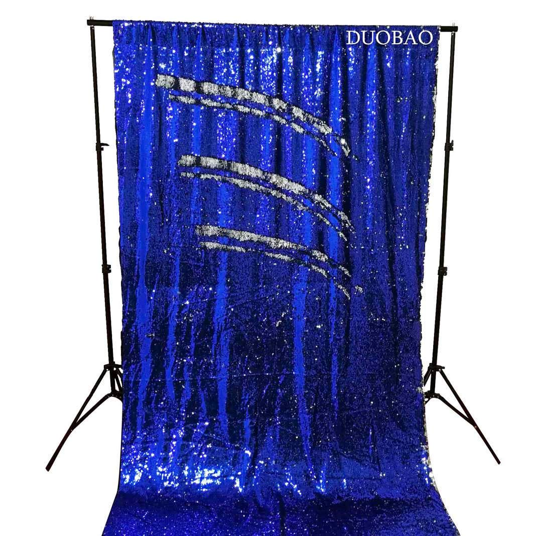 DUOBAO Sequin Backdrop 8Ft Mermaid Sequin Curtains Royal Blue to Silver Reversible Shimmer Backdrop 6FTx8FT Sparkle Photo Backdrop by DUOBAO
