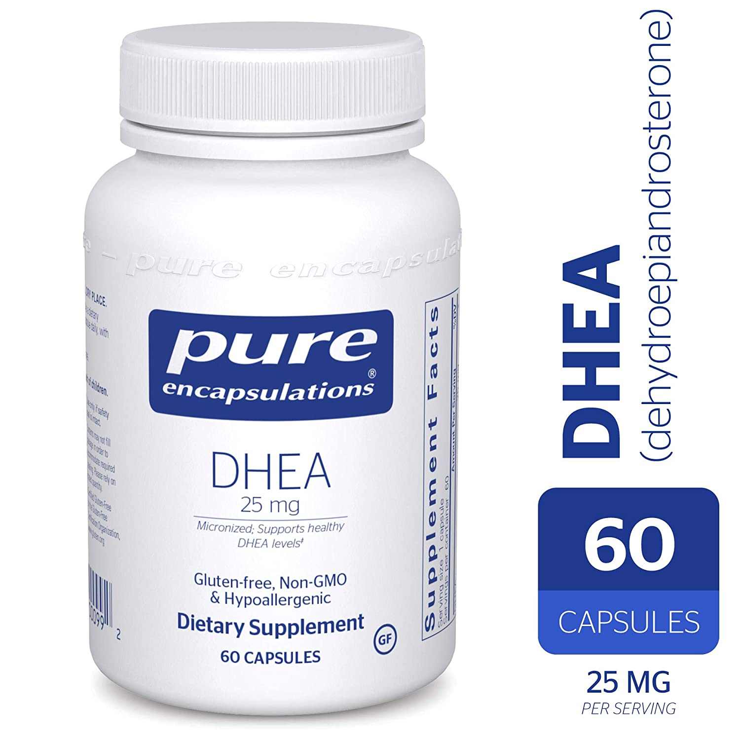 Amazon.com: Pure Encapsulations - DHEA (Dehydroepiandrosterone) 25 mg - Micronized Hypoallergenic Supplement - 60 Capsules: Health & Personal Care