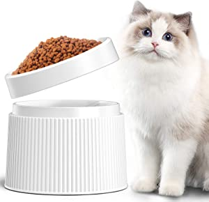 iPettie Elevated and Tilted Cat Food Bowl Cat Dish, Pet Feeding Station with Stand for Small Dog, Better Than Stainless Steel and Ceramic, Made from Certified Food-Safe Plastics, Non-Slip & No Spill