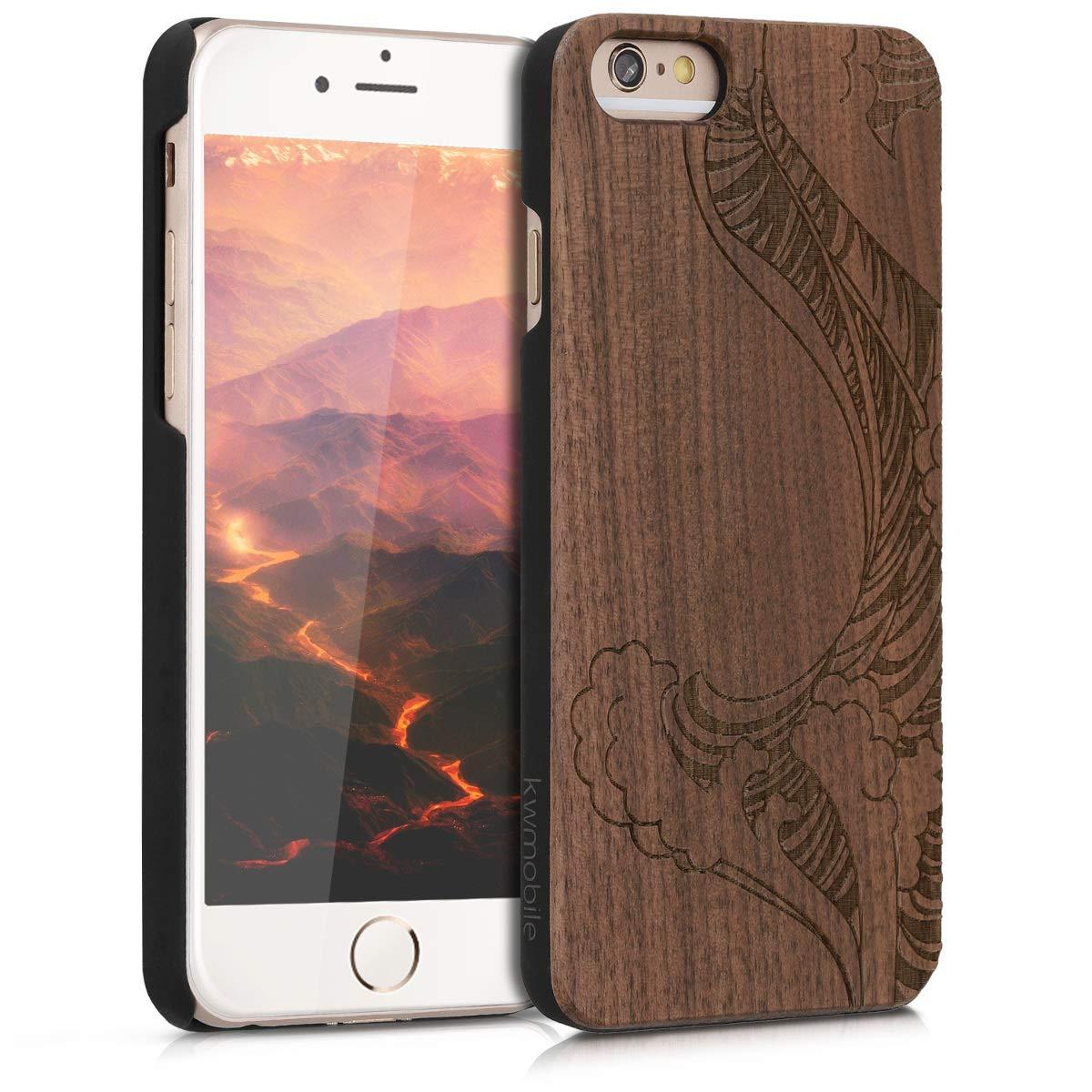 kwmobile Funda para Apple iPhone 6 / 6S - Carcasa de [Madera] - Case Trasero Protector [Duro] con diseño de Olas