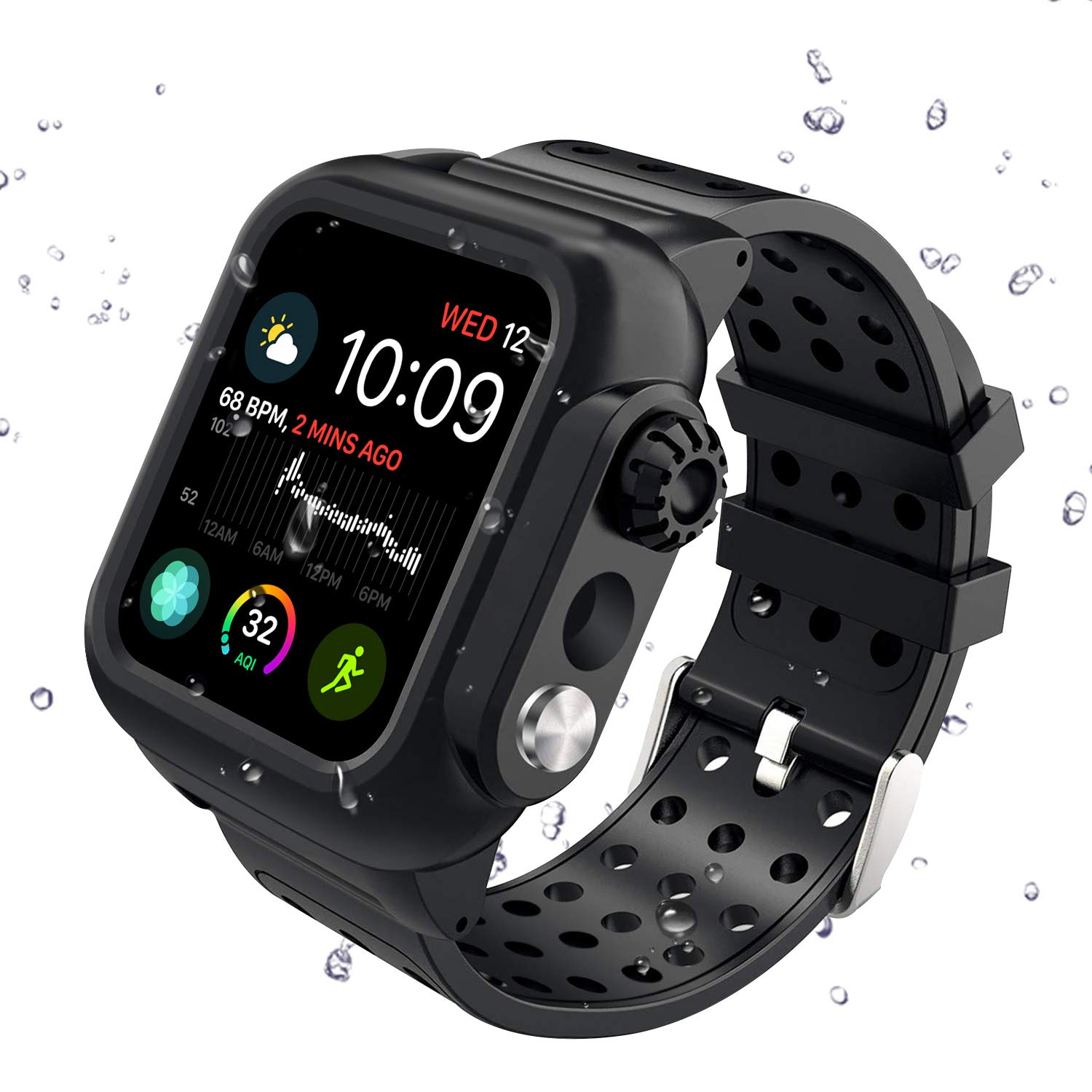 Apple Watch Series 4 44mm Band, Hertekdo Apple Watch 4 Case 44mm with Premium Soft Silicone Scratch Resistant Apple Watch Band Full Body Protections Cover Shockproof Dustproof Case by Hertekdo