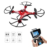 Drone with HD Camera, Potensic® F183DH RC Quadcopter RTF Altitude Hold UFO with Newest Hover and 3D Flips Function, 2MP HD Camera & 5.8Ghz FPV LCD Screen Monitor - Red