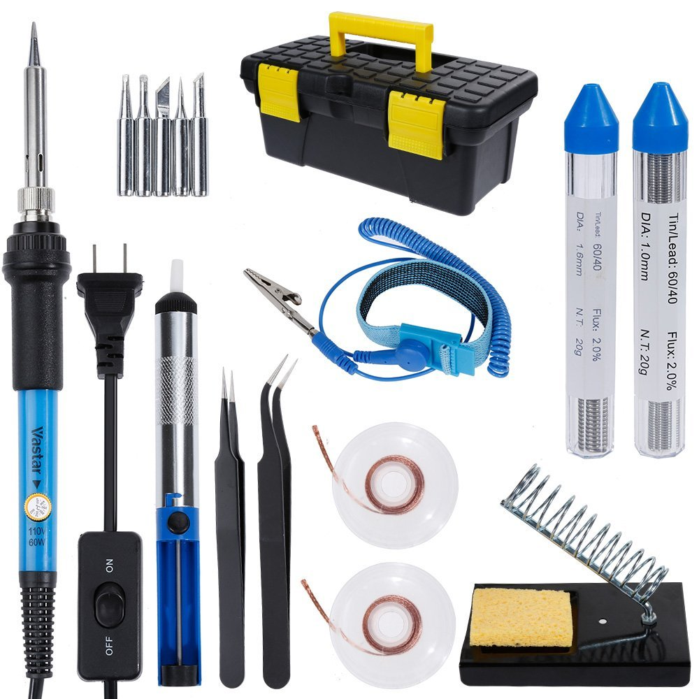 Vastar AC222 Soldering Iron Kit, 16 in 1 60W Welding Soldering Iron Temperature Adjustable with