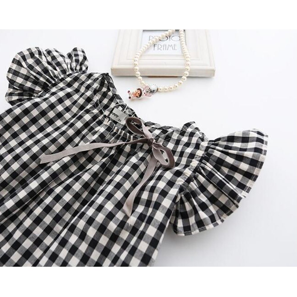 Verypoppa Kids Girls Summer Dress Cute Fly Sleeve Plaids Casual Party A Line Dress