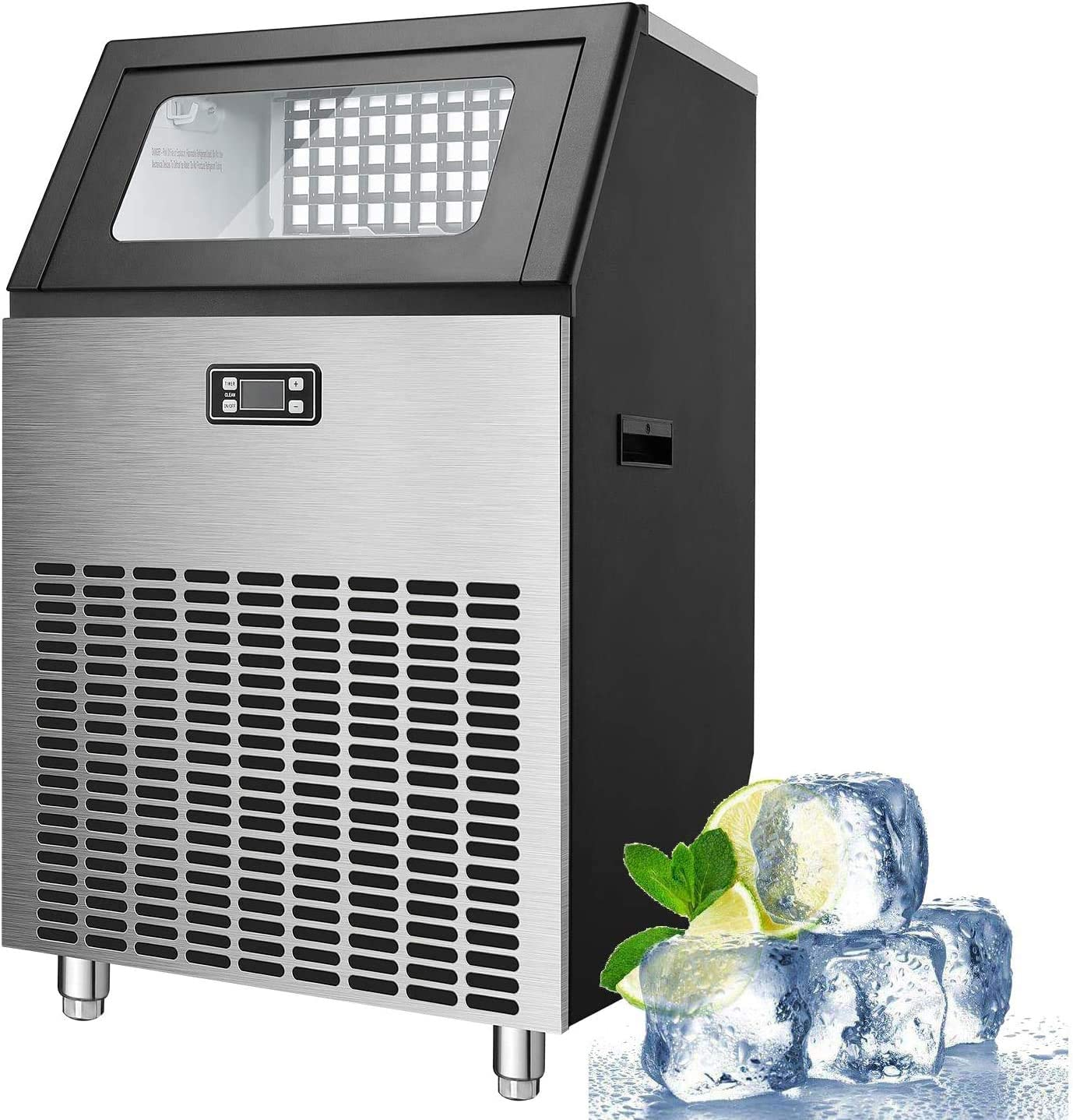 WUAZ Commercial Ice Makes Machine Stainless Steel Makes 200 Lbs of Ice Per 24H with 48 Pounds Storage Capacity Ice Cubes Freestanding Party/Bar/Connection Hose