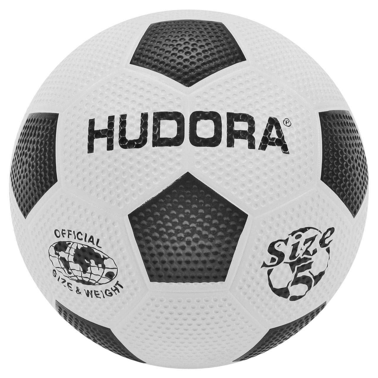 Hudora 71684 Football (Soccer) Ball Negro, Color Blanco Balon Deportivo - balones Deportivos