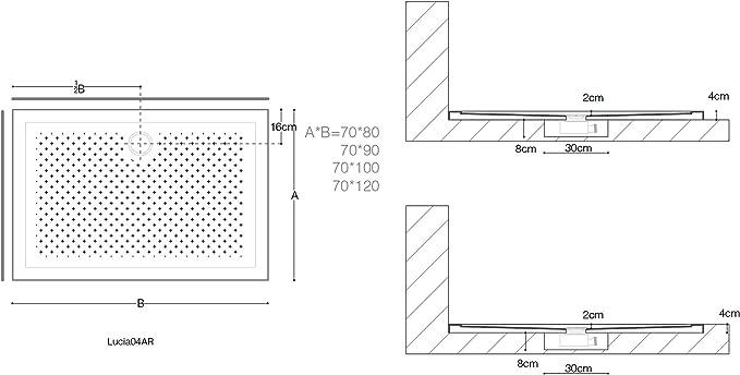 Sogood Duschtasse Duschwanne Lucia04 70x120x4 flach inkl Ablaufgarnitur aus Acryl Wei/ß mit Anti-Rutsch Profil und DIN-Anschl/üssen f/ür bodenebene Montage geeignet